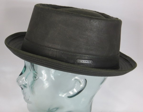STETSON PORK PIE Hut co/pe used look Trilby Hat oliv 1611501 Odenton NEU