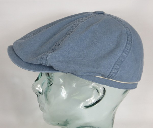 STETSON BROOKLIN Organic Cotton Mütze Flatcap Schiebermütze 6-Panel Cap Blau NEU