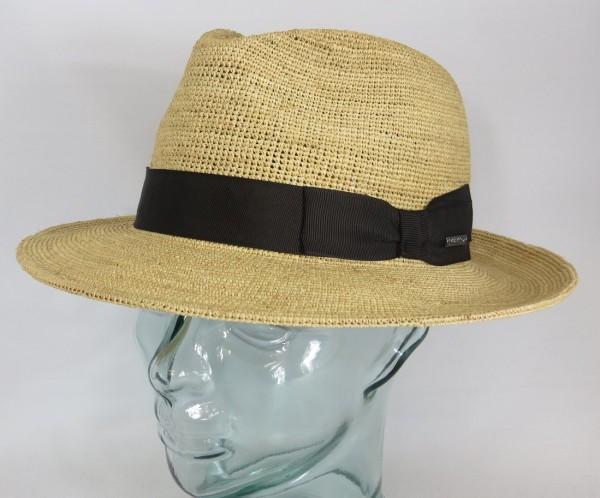 STETSON Raffia Crochet Stroh Hut Sommer Sonnen Fedora Bogart Hat 2138502 Neu