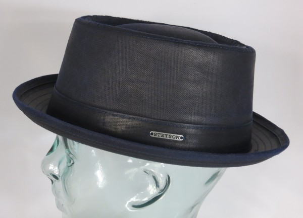 STETSON PORK PIE Hut co/pe used look Trilby Hat blau 1611501 Odenton NEU