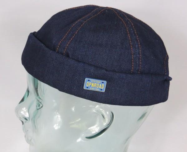 STETSON Docker Mütze Denim Cap Skullcap Sailorcap Rollrand Jeans 8821108 Neu