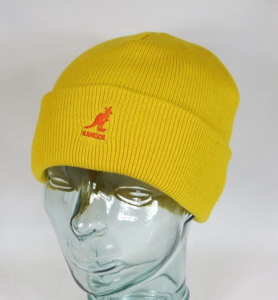 KANGOL CUFF PULL ON Strickmütze Wollmütze Beanie Cap Winter Mütze gelb Neu