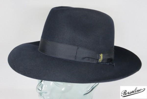 Origi. BORSALINO HUT Qualita Superiore Haarfilz Blau Fedora Bogart Hut Neu