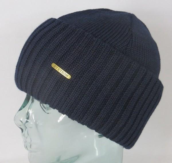 STETSON Strickmütze Beanie Northport Wollmütze blau Wintermütze Pull on cap Neu