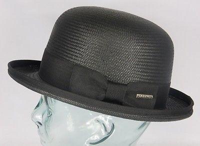 STETSON RINGWOOD Toyo Bowler Hat Melone Strohhut Sommerhut Hut schwarz neu