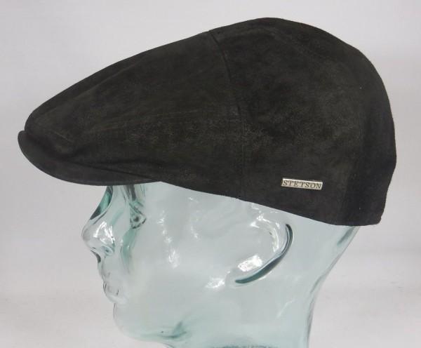 STETSON MERRICK Pig Skin Flatcap schwarz Ivy Cap Mütze Ledermütze Lederkappe Neu