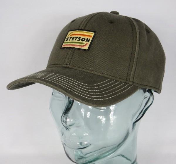 STETSON Baseball Cap Basecap Kappe Schild Mütze oliv Baumwolle 7721110 NEU