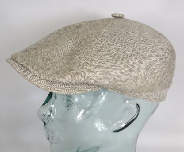 STETSON BROOKLIN Leinen Mütze Flatcap Schiebermütze 6-Panel Cap beige 6643501 NEU