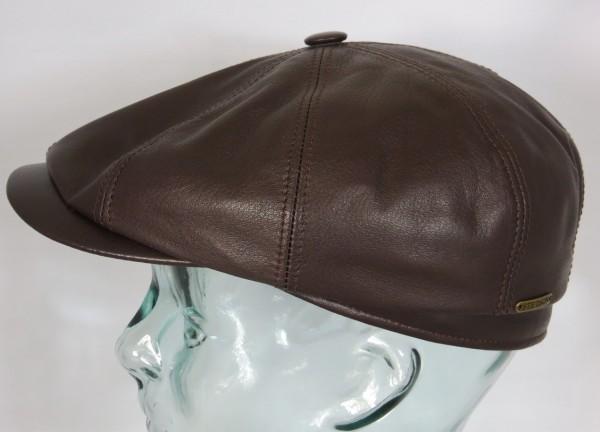 STETSON HATTERAS Lamb Skin Leder Flatcap Cap Mütze Schirmmütze braun 6847508 NEU