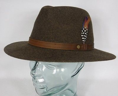 STETSON CRANSTON Outdoorhut Treckinghut Traveller Hut Wollfilzhut Braun Hat Neu