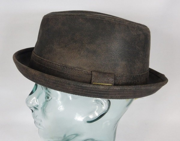 STETSON RADCLIFF pigskin Leder Hut Player Pork Pie Trilby Hat braun NEU 1187101