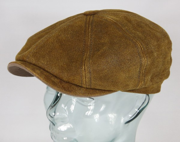 STETSON Burney 8-Panel Leder Schiebermütze Flatcap Cap pigskin braun 6897101 Neu