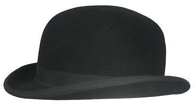 Englische MELONE BOWLER Bowlerhut Bowlerhat Schwarz Haarfilz Hut Top Qualität