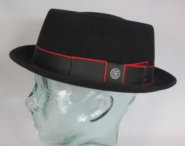 STETSON Pork Pie Hut Wollfilz schwarz Trilby Player Hat 1658103 Neu