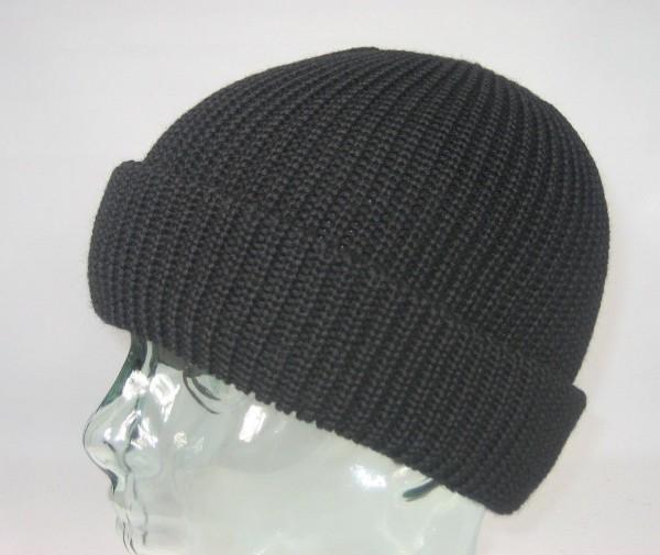 BALKE Strickmütze Fischerpudel 100% Schurwolle schwarz große Form Mütze Neu