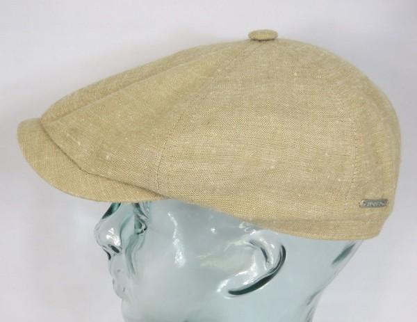 STETSON 6-Panel Cap Leinen Seide Mütze Flatcap Schiebermütze beige 6653102 NEU