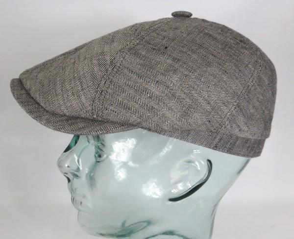 STETSON BROOKLIN Leinen Mütze Flatcap Schiebermütze 6-Panel Cap grau 6643501 NEU