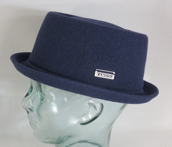 KANGOL WOOL MOWBRAY Pork Pie Hut Trilby blau Mütze PorkPie Wollhut NEU