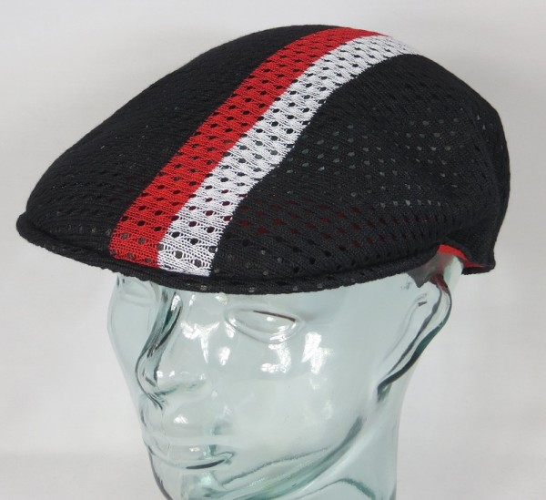 KANGOL MESH STRIPE 504 Flatcap Ivy Cap Sommer Mütze Golfcap schwarz NEU