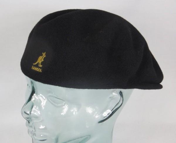 KANGOL WOOL 504 Flatcap schwarz mit Logo in Gold Wolle Mütze Cap Pepe Neu
