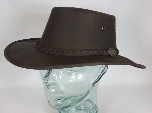 BARMAH Squashy Australischer Leder Hut Outback Hat Outdoorhut knautschbar braun NEU
