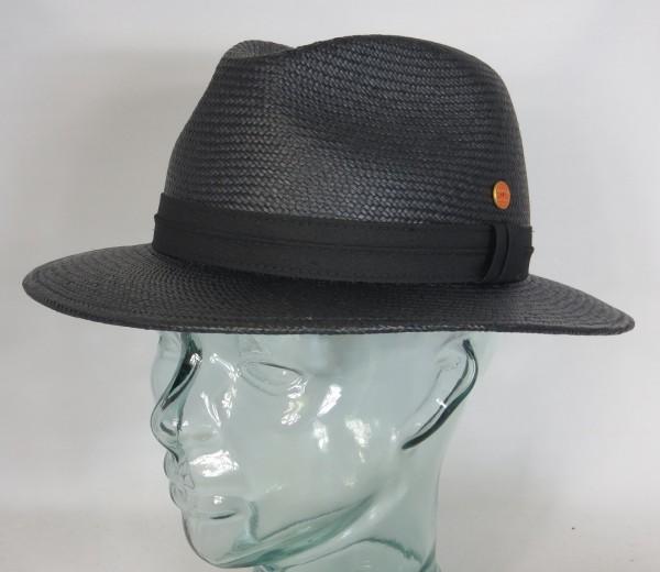 MAYSER PANAMA HUT GERO Stroh schwarz Sonnenhut Hat flache Form Traveller NEU