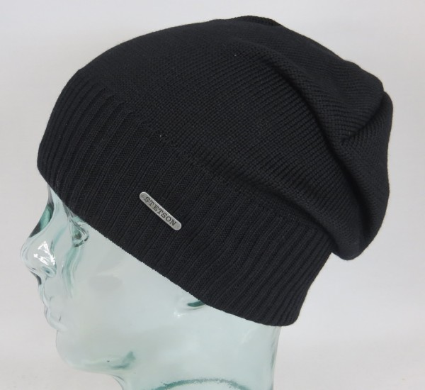 STETSON Strickmütze Long Beanie Oversized Winter Woll Mütze Cap schwarz 8599338 NEU