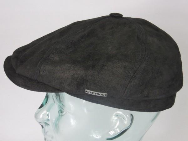 STETSON 6-Panel Cap Pigskin LEDER Flatcap Mütze Schiebermütze schwarz 6647103