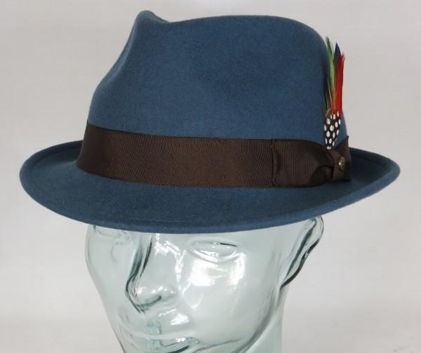 STETSON RICHMOND TRILBYHUT Wollfilz Trilby Hut Wollhut blau Hat NEU 1238101