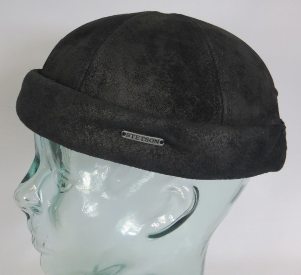 STETSON Leder Docker Mütze Cap schwarz Skullcap Sailorcap Leather pigskin 8827101 Neu