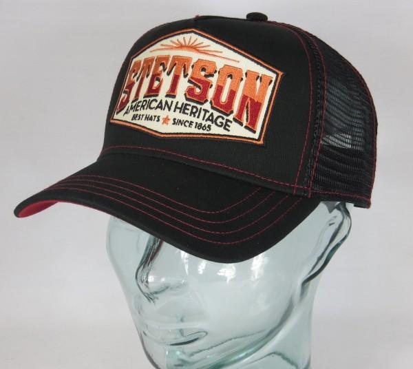 STETSON Trucker Cap Mesh Netz Kappe BASECAP SNAPBACK Mütze schwarz 7751110 NEU
