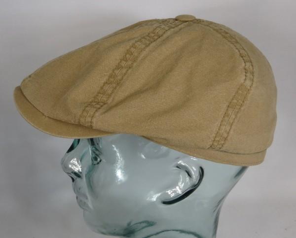 STETSON BROOKLIN Organic Cotton Mütze Flatcap Schiebermütze 6-Panel Cap Beige NEU