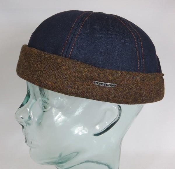STETSON Docker Mütze Denim Cap Skullcap Sailorcap Rollrand Jeans 8821110 Neu