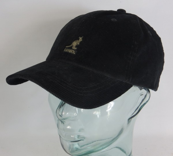 KANGOL CORD BASEBALL CAP Cotton Basecap Baumwolle Kord Kappe Mütze schwarz Neu