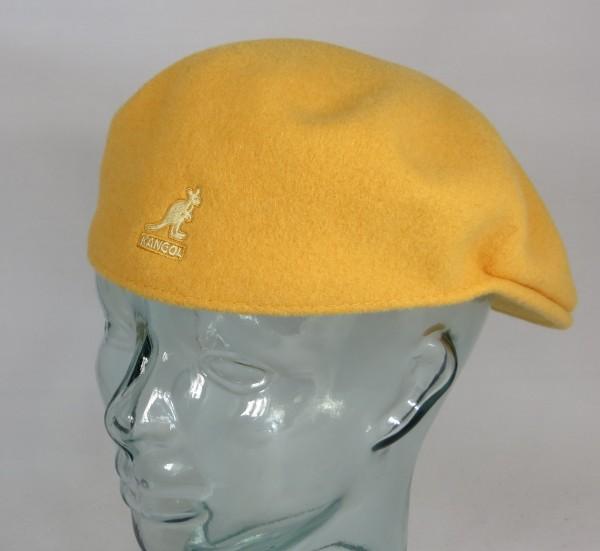 KANGOL WOOL 504 Flatcap warm apricot gelb Wolle Mütze Cap Pepe Schiebermütze Neu