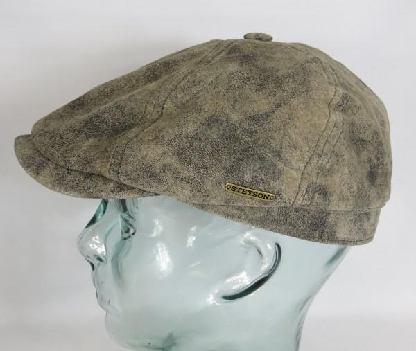 STETSON McCook Pigskin LEDER Flatcap 6-Panel Cap Mütze Schiebermütze 6647103 NEU