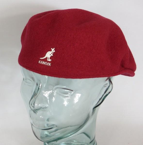 KANGOL WOOL 504 Flatcap rot red velvet Wolle Mütze Cap Pepe Schiebermütze Neu
