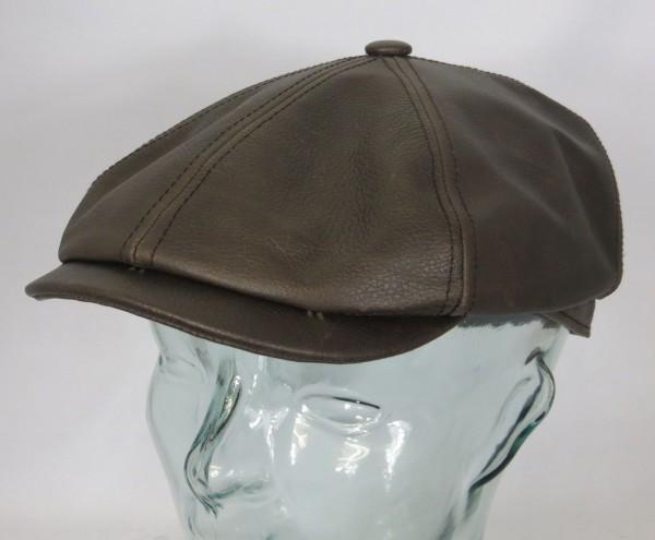 STETSON Brooklin Cowhide LEDER Flatcap 6-Panel Cap Mütze Schiebermütze Hut NEU