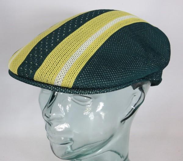 KANGOL Vented Stripes 504 Flatcap Ivy Cap Sommermütze Golfcap Mütze grün NEU