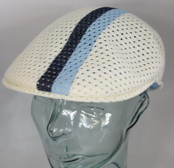 KANGOL MESH STRIPE 504 Flatcap Ivy Cap Sommermütze Golfcap Mütze weiss NEU