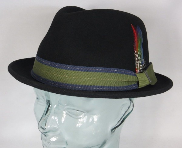 STETSON Hut Player Pork Pie Trilby Wollfilz Wollhut schwarz Hat 1398112 NEU