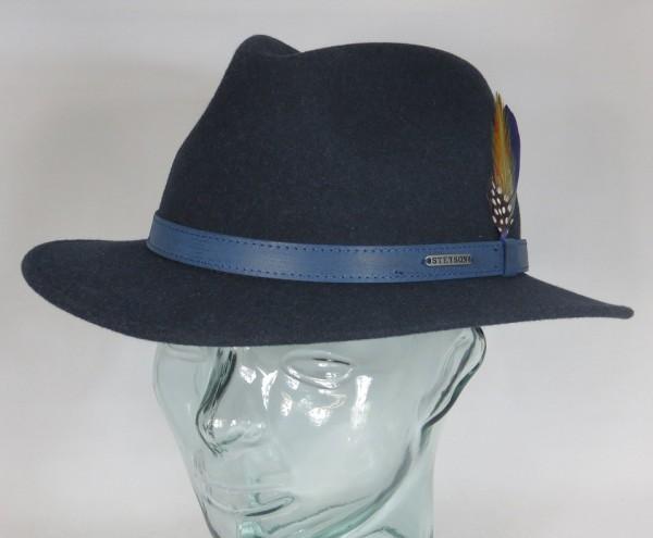 STETSON POWELL Woolfelt Outdoor Trecking Hut Traveller Wollfilz blau Hat Neu