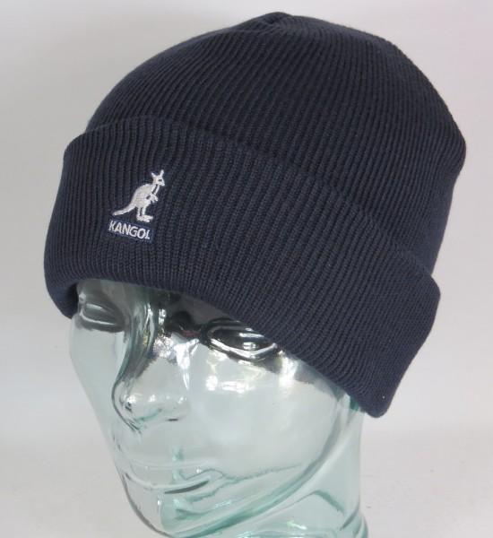 KANGOL CUFF PULL ON Strickmütze Wollmütze Beanie Cap Winter Mütze blau Neu