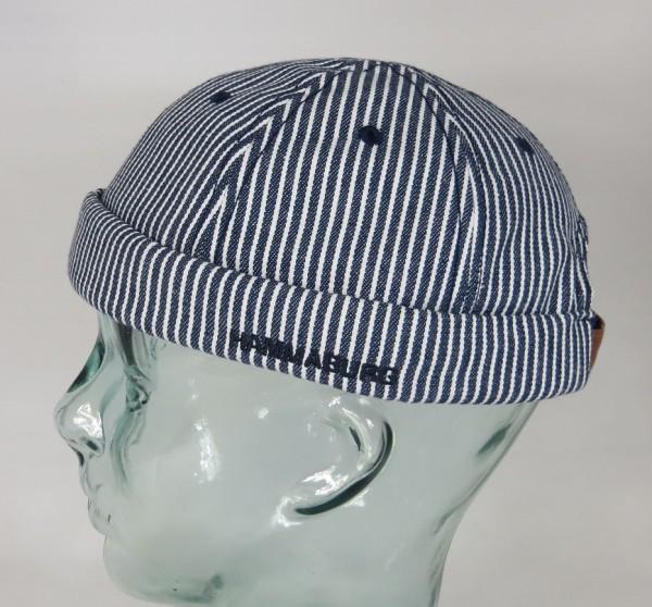 HAMMABURG Stripes Docker Mütze Cap Skullcap Sailorcap Rollrand Baumwolle Maritim Neu