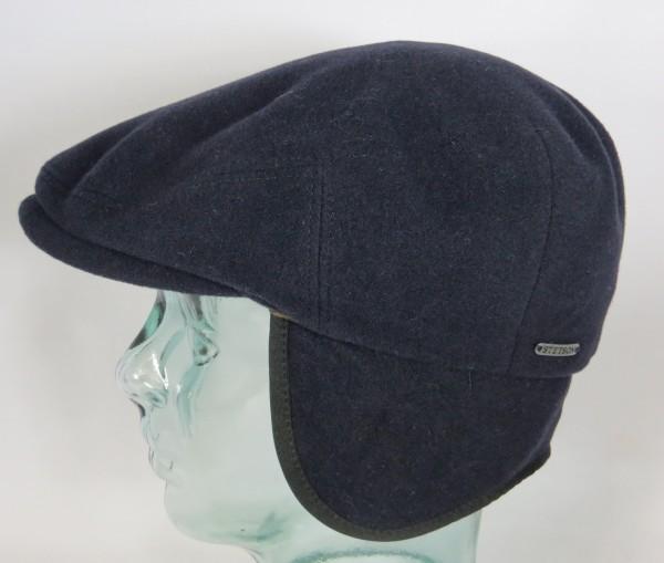 STETSON KENT Wool Flatcap Cap Mütze mit Ohrenklappen Schiebermütze Earflaps blau