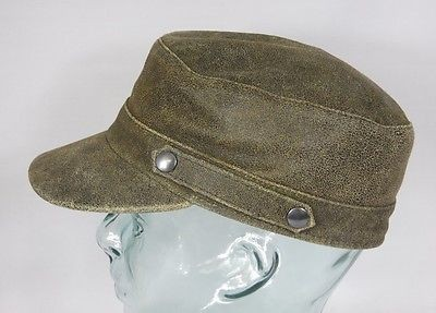 BULLANI Armycap Antik Leder Mütze Kubacap Schirmmütze Kappe Made in Germany Neu