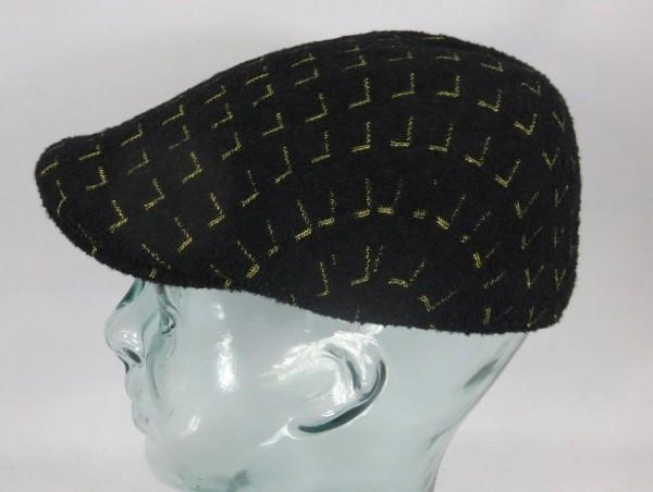 KANGOL MATRIX 507 Flatcap Cap Kangolcap Golfcap Winter Mütze schwarz gold NEU