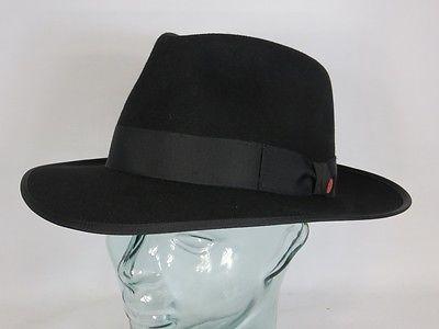Eleganter MAYSER HUT PADUA schwarz Haarfilz Fedora Bogart Hat Neu inkl. Karton