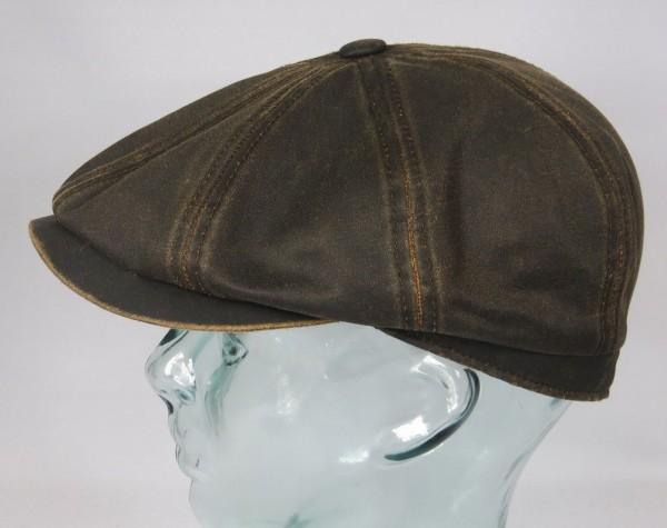 STETSON HATTERAS Mütze Kappe Flatcap Cap Leder Optik Schiebermütze Vintage NEU