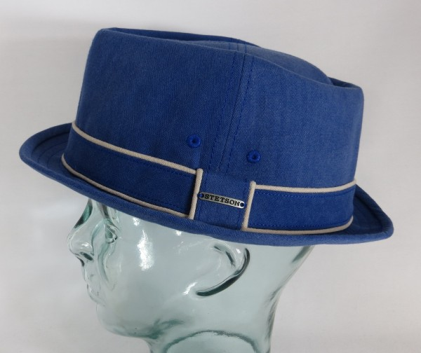 STETSON Norwood Diamond Pork Pie Hut Baumwolle blau Stoffhut Player Hat 1331101 NEU